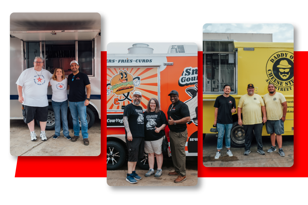happy-customers-with-their-food-trailers-with-red-background